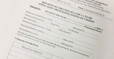Quy trình đăng ký thi công sửa chữa căn hộ ở Vinhomes Metropolis
